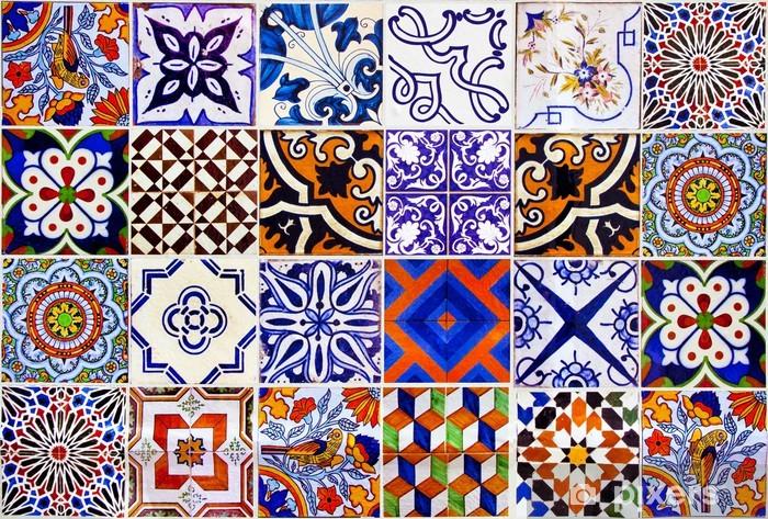 Naklejka Pixerstick Bliska tradycyjne płytki ceramiczne Lizbona - Płytki