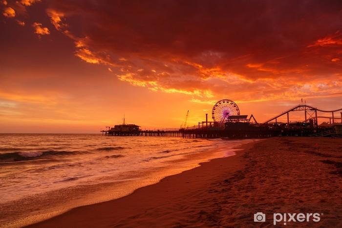 Santa Monica Pier at sunset Pixerstick Sticker - Sea and ocean