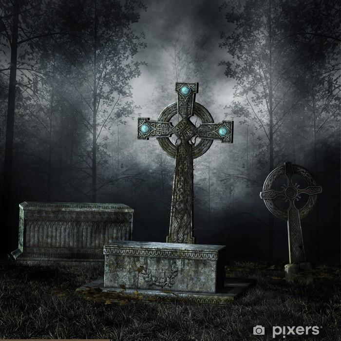 Poster Alte Grabsteine in einem dunklen Wald - Leben