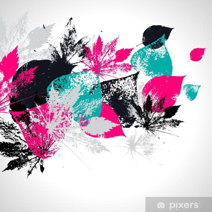 Vinil Duvar Resmi Yaprakları ile soyut seamless pattern - Dokular