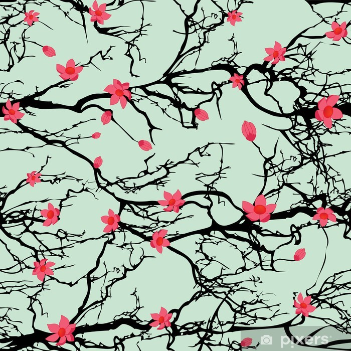 Seamless tree pattern. Japanese cherry blossom Pixerstick Sticker - Themes