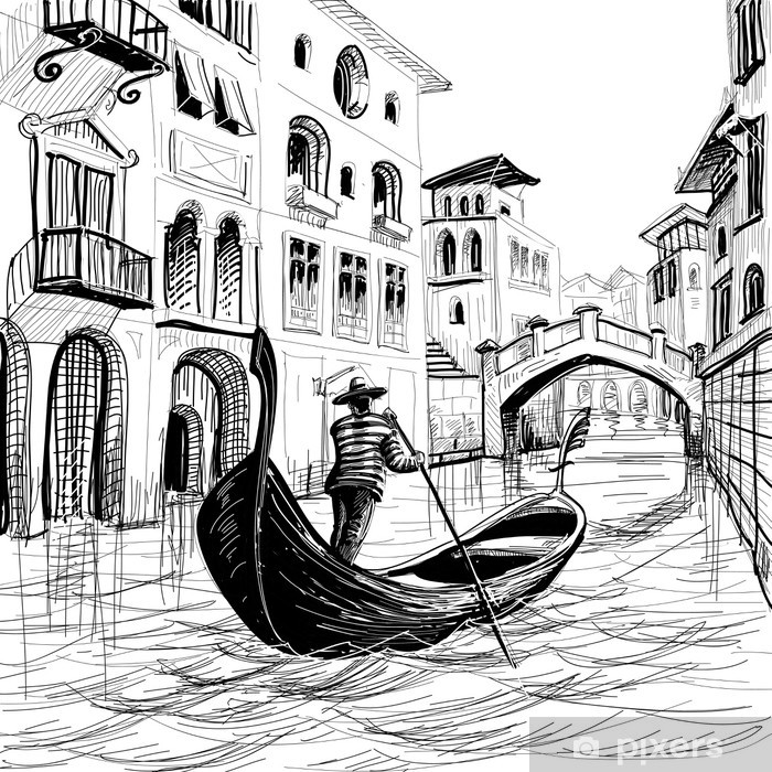 Gondola in Venice vector sketch Framed Poster - Themes