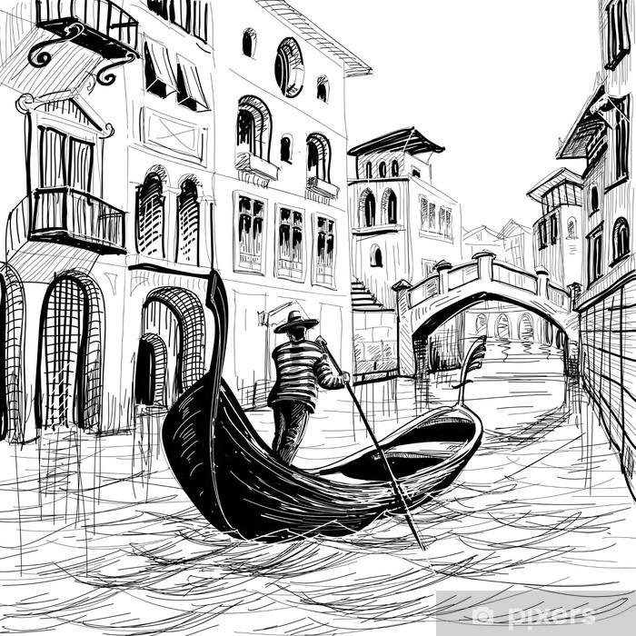 Ingelijste Poster Gondel in Venetië vector schets - Thema's