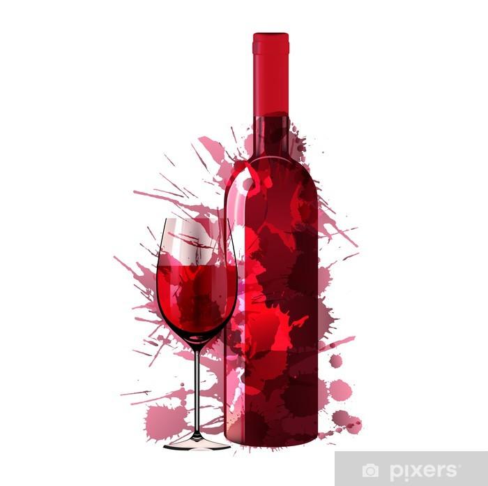 Sticker Pixerstick Bouteille et un verre de vin faite de taches colorées - Sticker mural