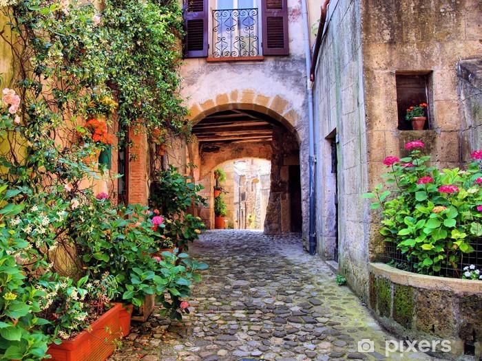 Naklejka Pixerstick Łukowata brukowanej ulicy w toskańskiej wiosce, włochy - Style