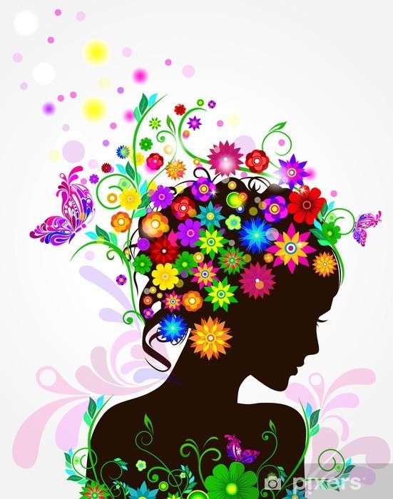 Papier peint vinyle Vector fille avec des fleurs dans ses cheveux - Femmes