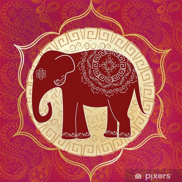 Indian elephant with mandalas Pixerstick Sticker - Styles