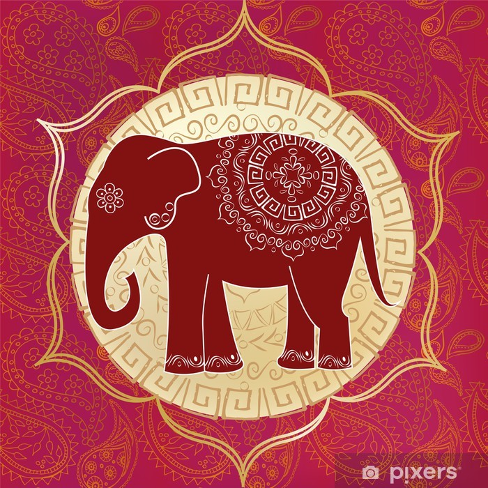 Indian elephant with mandalas Vinyl Wall Mural - Styles