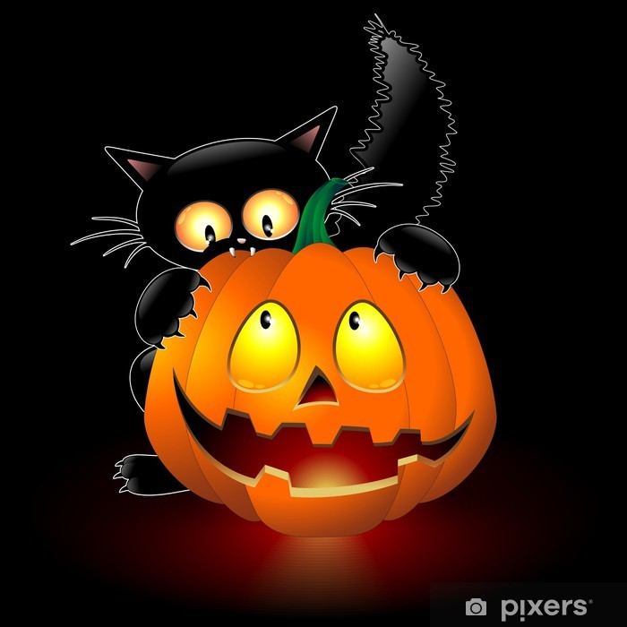 Carta da Parati in Vinile Halloween Cat Cartoon mordere una zucca-Gatto con  Zucca - 0d5a0a7f3fd9