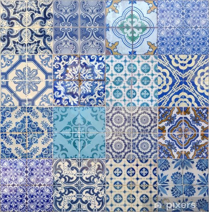 motifs azujelo bleu Pixerstick Sticker - European Cities