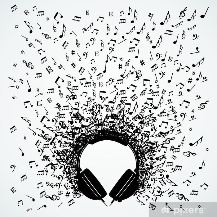 Fotomural Estándar Notas de la música de los auriculares aislados diseño - Música