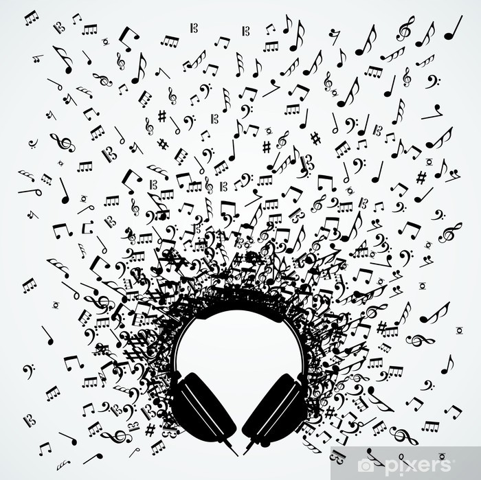 Music notes from headphones isolated design Vinyl Wall Mural - Music