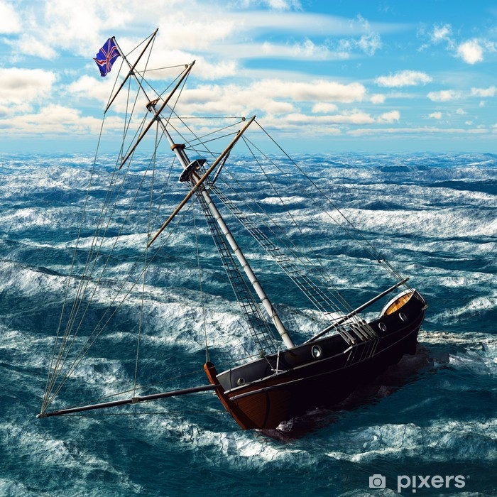 Poster Pirate brigantin sur mer - Destin
