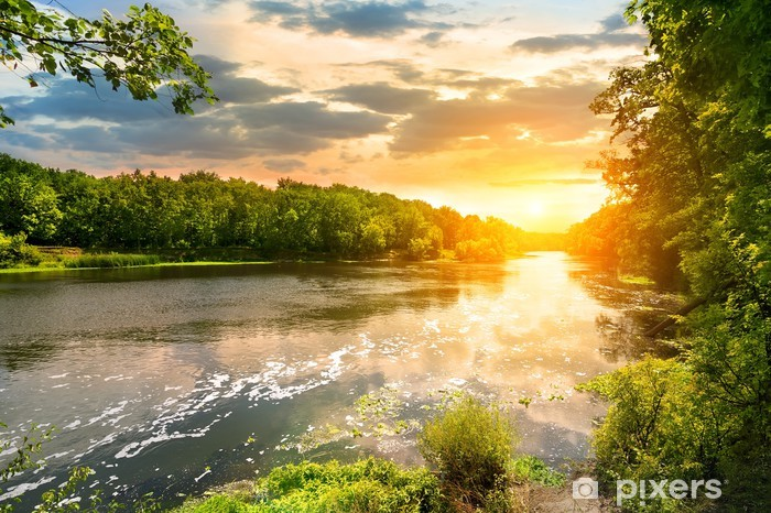 Sunset over the river Vinyl Wall Mural - Themes