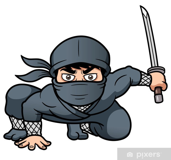 Fototapeta winylowa Ilustracja wektorowa Cartoon Ninja - Ludzie w pracy