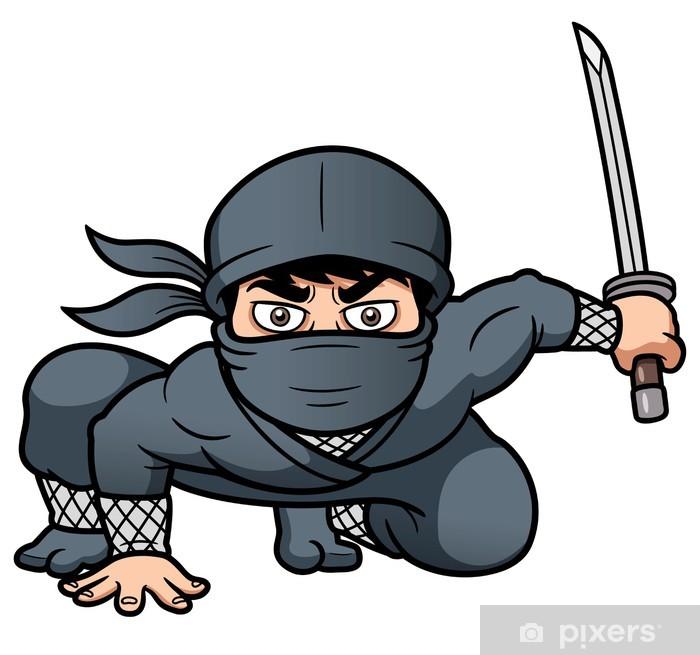 Naklejka Pixerstick Ilustracja wektorowa Cartoon Ninja - Ludzie w pracy