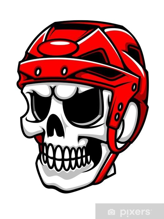 Aufkleber Schädel In Eishockey Helm Pixerstick