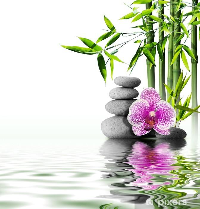 Naklejka Pixerstick Fioletowy kwiat orchidei bambusa na koniec wodą - Style
