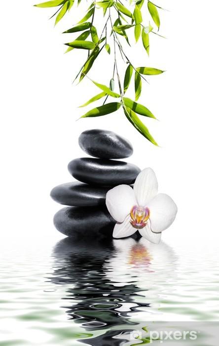 Vinyl Fotobehang Witte orchidee bloem einde bamboe -