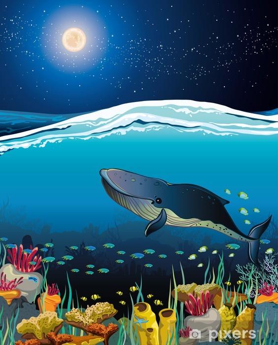 Vinylová fototapeta Krajina s plovoucí velryby a noční oblohy - Vinylová fototapeta