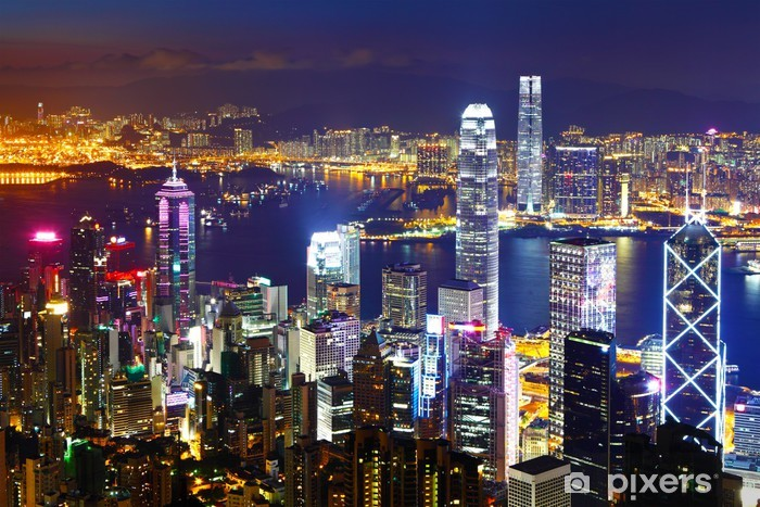 Sticker Pixerstick Hong Kong la nuit - Asie