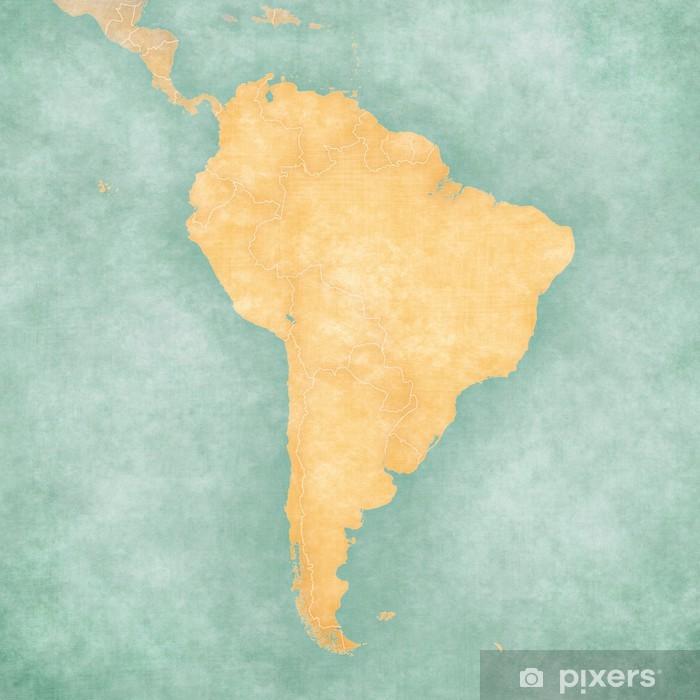 Sticker Pixerstick Carte de l'Amérique du Sud - Carte vierge (Vintage Series) - Amérique