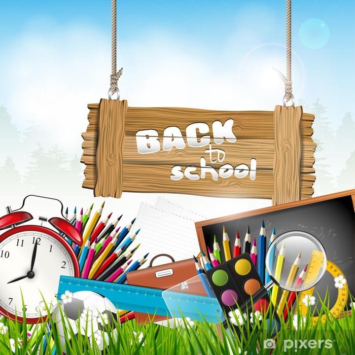 Poster Terug naar school - vector achtergrond - Bestemmingen