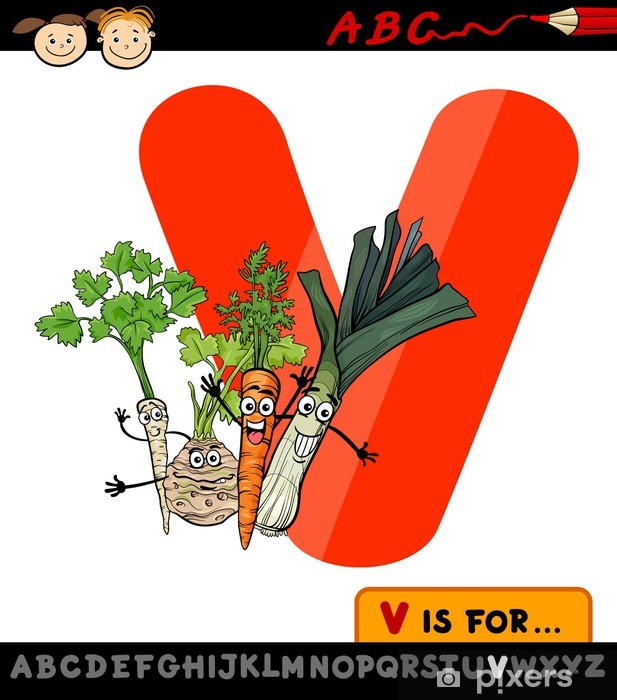 Letter V With Vegetables Cartoon Illustration Wall Mural Pixers