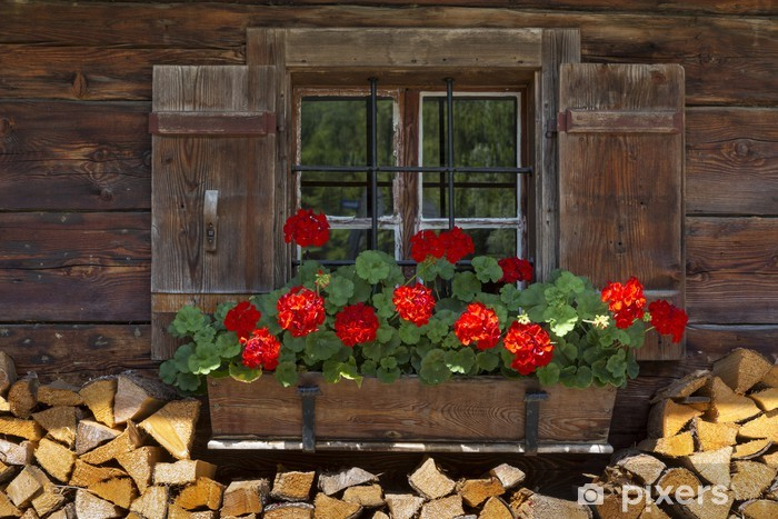 Naklejka Pixerstick Okno chaty z geranium i drewna - Wakacje