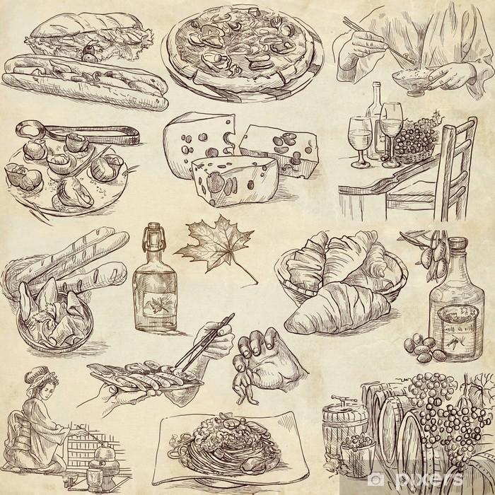 Vinyl-Fototapete Essen und Trinken rund um die Welt - Zeichnungen auf altem Papier - Gerichte