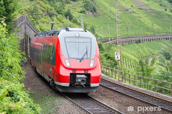 Papier peint vinyle La conduite des trains le long de vignobles près de la Moselle en Allemagne - Thèmes