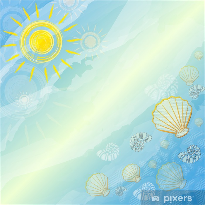 Plakat Niebieskim tle lato z suns i muszli - Pory roku