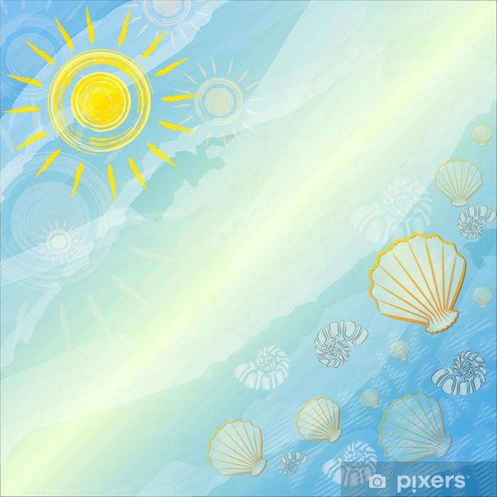 Poster Sfondo blu estate con soli e conchiglie - Stagioni