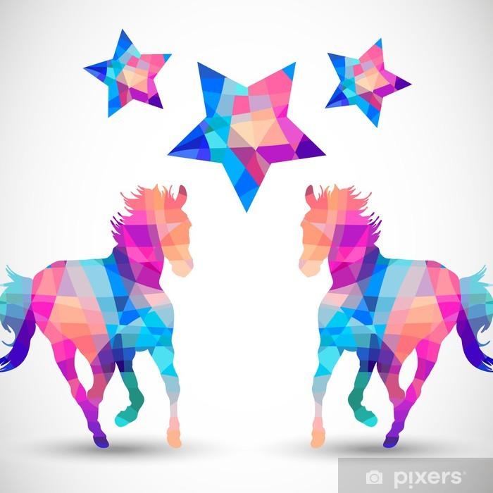 Naklejka Pixerstick Streszczenie koń kształty geometryczne z gwiazdą - Kwiaty