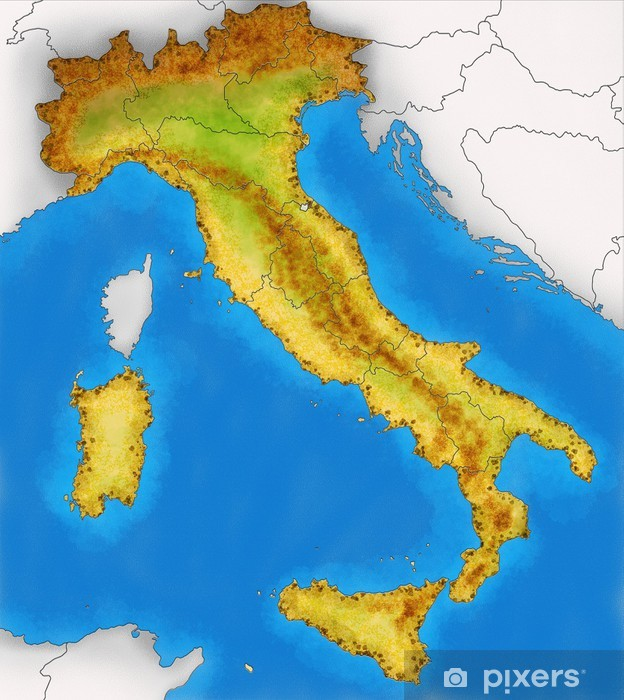 Fototapeta Fizyczna Mapa Wloch Ilustracji Pixers Zyjemy By