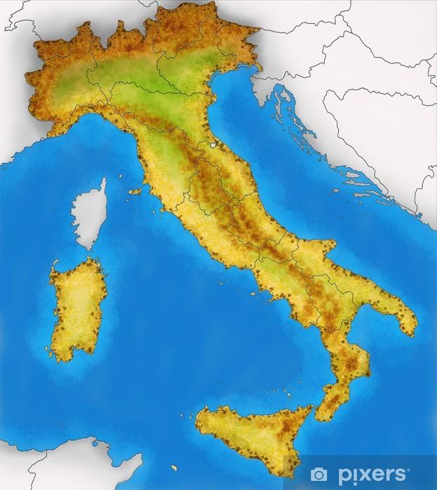 Cartina Italia Bambini.Cartina Italia Fisica Illustrazione Wall Mural Pixers We Live To Change