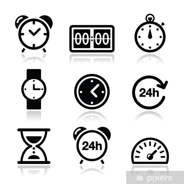 405a5e3f Pixerstick-klistremerke Tid, klokke vektor ikoner sett - Tegn og Symboler