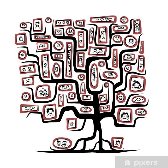 Fototapeta winylowa Szkic Drzewo genealogiczne z ludźmi portretów dla projektu - Drzewa
