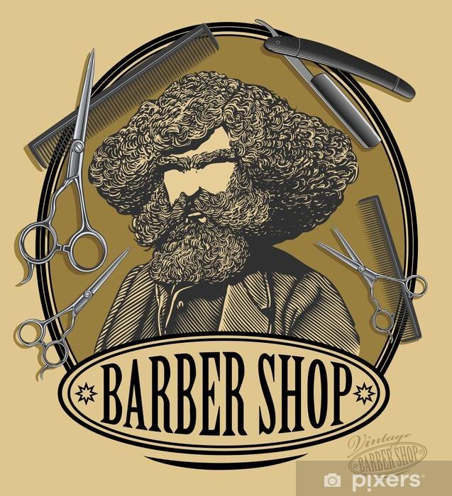 Fototapeta winylowa Vintage fryzjera znak zarządu z brodatego mężczyzny, nożyczki - Style