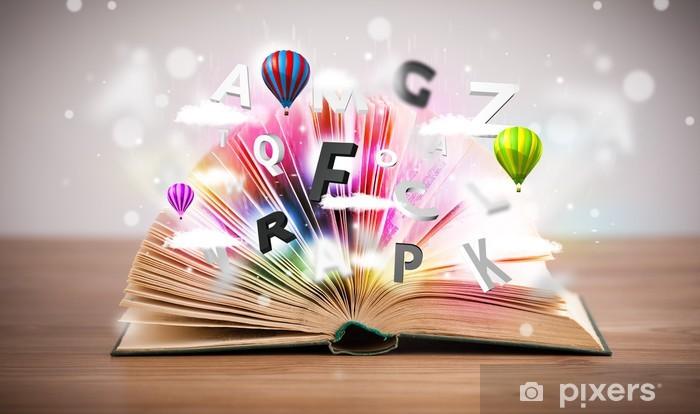 Sticker Pixerstick Ouvrir le livre avec le vol lettres 3d sur fond de béton - Education