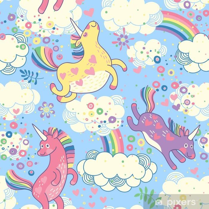 Sødt sømløs mønster med regnbue enhjørninger i skyerne Dør klistemærke -