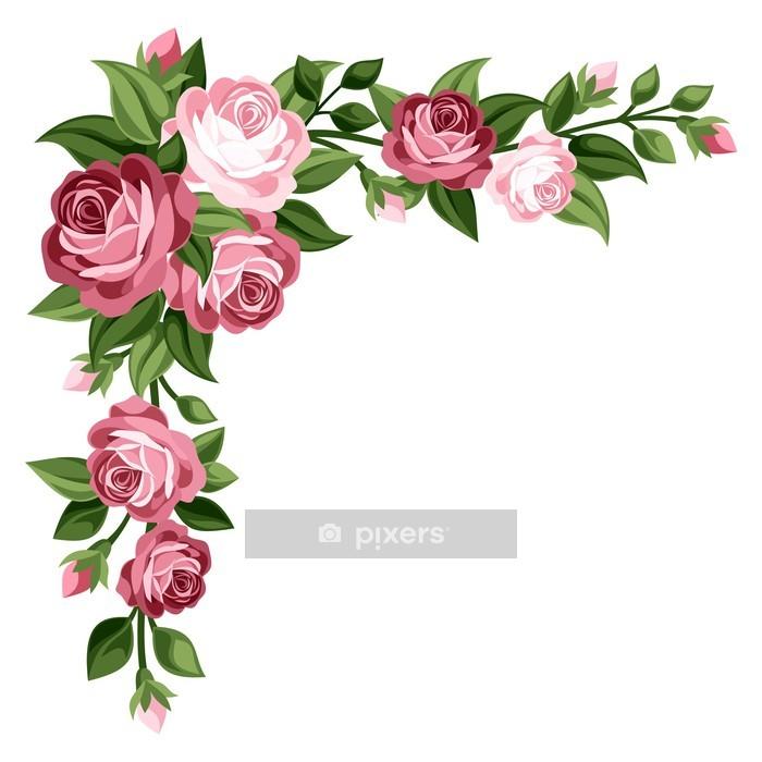 Adesivo da Parete Vintage Rose rosa, boccioli e foglie. Illustrazione vettoriale. - Fiori