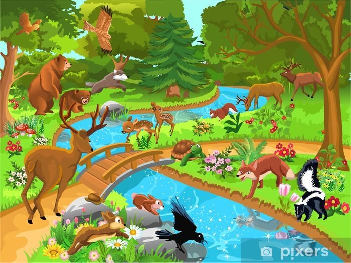 Papier peint vinyle Animaux sauvages vivant dans la forêt - Mammifères