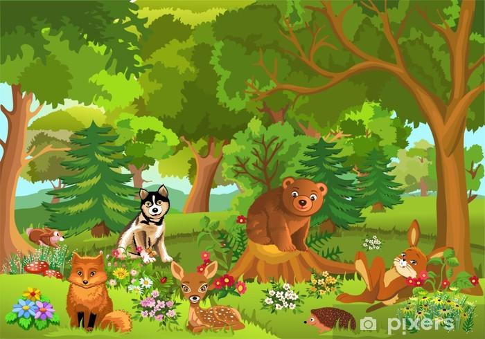 Sticker Pixerstick Animaux mignons vivant dans la forêt - Pour enfant 5 ans