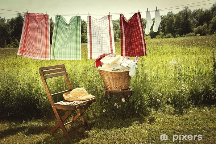 Papier peint vinyle Jour de lavage avec lessive sur la corde à linge - Maisons et jardins