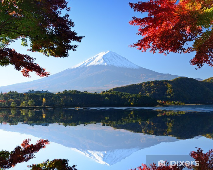 Mt. Fuji in the Autumn from Lake Kawaguchi, Japan Pixerstick Sticker - Themes