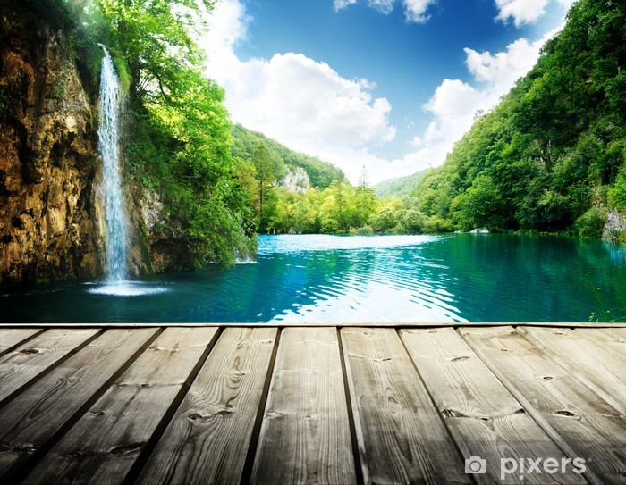 waterfall in deep forest of croatia and wood pier Pixerstick Sticker - Themes