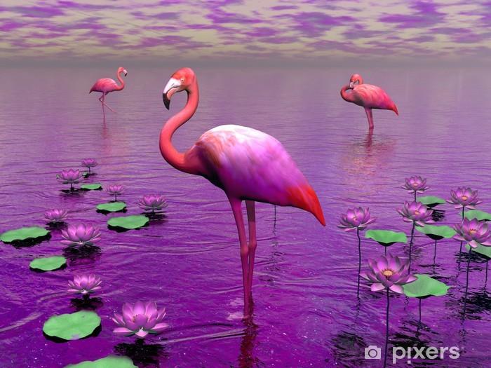 Fototapeta samoprzylepna Flamingi i nenufary - 3D render - Tematy