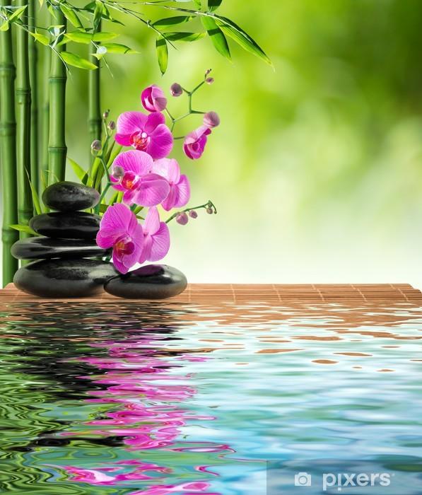 Pixerstick Aufkleber Rosa Orchidee schwarzem Stein und Bambus auf dem Wasser - Themen