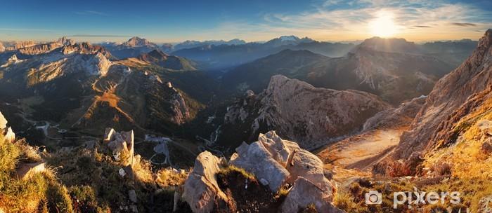 Pixerstick Sticker Bergzonsondergang panoramalandschap - in Italië Alpen - Dolomieten - Thema's